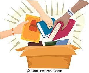 коробка, books, свая, жертвовать, руки