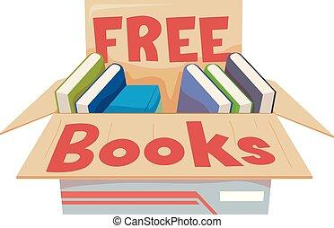 коробка, books, свободно, иллюстрация