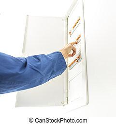 коробка, checking, предохранитель, электрический, человек