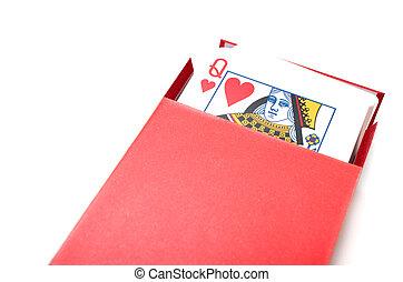 королева, of, сердце, в, , коробка, of, cards