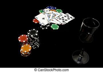 королевский, промывать, покер, рука