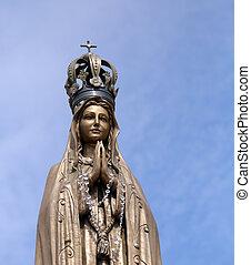 корона, статуя, руки, наш, драгоценный, леди, clasped