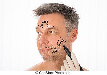 коррекция, lines, лицо, врач хирург, рисование, человек