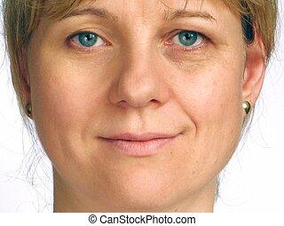 коррекция, wrinkles, половина, е