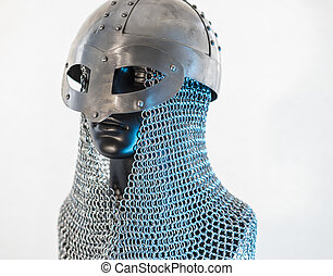костюм, викинг, шлем, with, цепь, почта, в, , черный, манекен, на, белый, background., одежда, для, , викинг, война