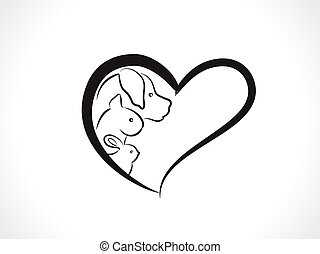 кот, логотип, вектор, сердце, собака, кролик, внутри