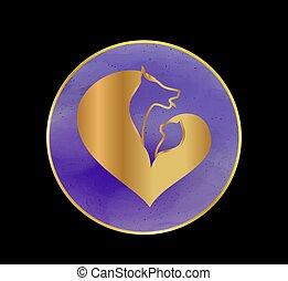 кот, логотип, собака
