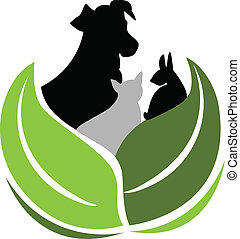 кот, собака, логотип, кролик