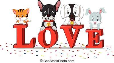 кот, собака, люблю, кролик, вместе