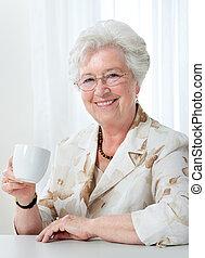 кофе, женщина, старшая, кружка