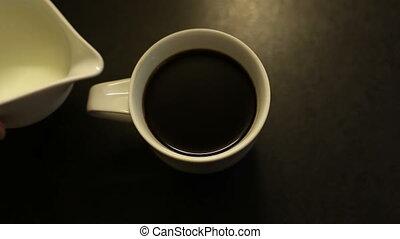 кофе, медленный, кружка, движение, горячий, черный, таблица, молоко