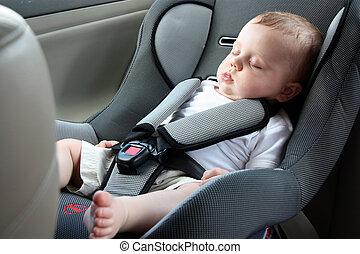 красивая, автомобиль, спать, детка, сиденье