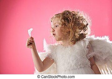 красивая, ангел, девушка, держа, , перо