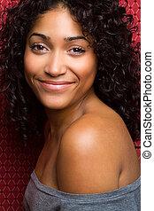 красивая, африканец, американская, женщина