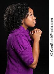 красивая, африканец, американская, женщина, praying