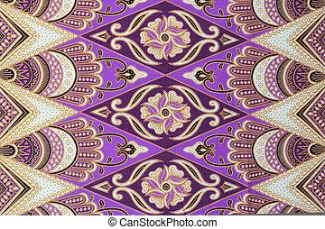 красивая, батик, patterns, традиционный, малайзия, стали,...