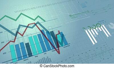 красивая, бесшовный, 3d, анимация, of, акции, рынок, charts,...