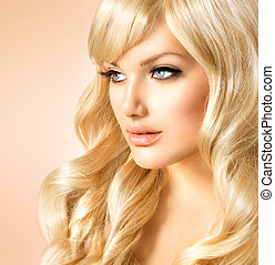 красивая, блондинка, красота, кудрявый, длинные волосы,...