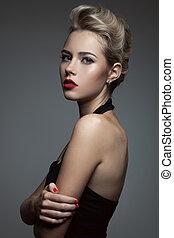 красивая, блондинка, woman., ретро, мода, image.