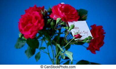 красивая, букет, синий, красный, roses