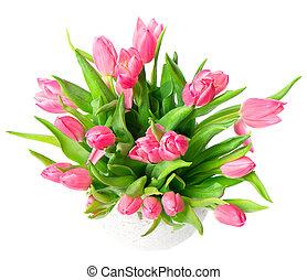 красивая, букет, цветы, весна, тюльпан