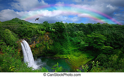 красивая, вверх, водопад, гавайи, посмотреть