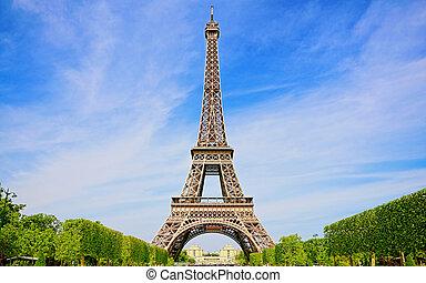 красивая, весна, в, париж