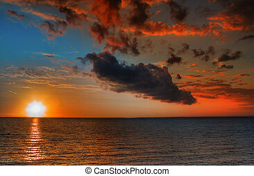красивая, вибрирующий, закат солнца