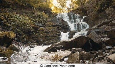 красивая, водопад, лес