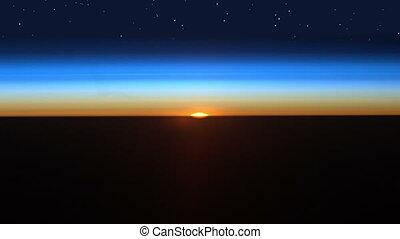 красивая, восход, в, пространство