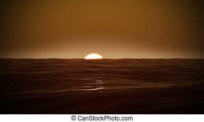 красивая, восход, над, , sea.