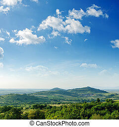 красивая, гора, зеленый, пейзаж, trees