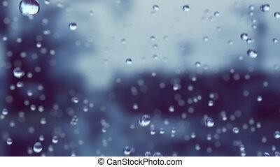 красивая, движение, медленный, drops, дождь