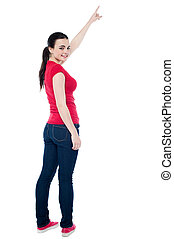 красивая, ее, pointing, вверх, рука, девушка