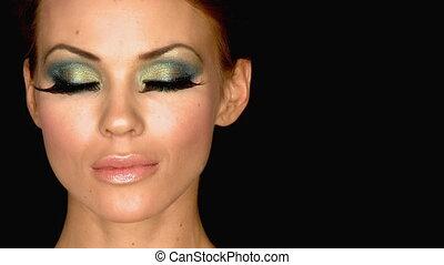 красивая, женщина, выдающийся, составить, портрет,...