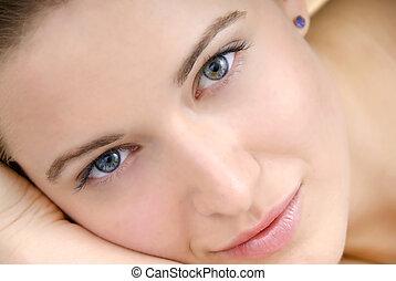 красивая, женщина, кожа