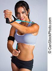 красивая, женщина, латинский, фитнес