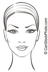 красивая, женщина, лицо