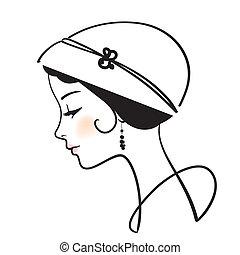 красивая, женщина, лицо, with, шапка, вектор, иллюстрация