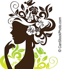 красивая, женщина, силуэт, with, цветы, and, птица