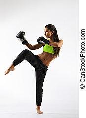 красивая, женщина, фитнес