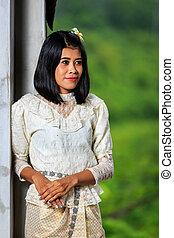 красивая, женщина, with, тайский, традиционный, платье, король, рама, 5