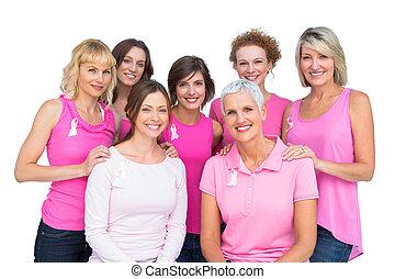 красивая, женщины, posing, and, носить, розовый, для, грудь, рак