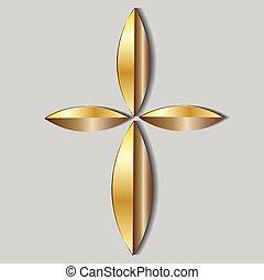 красивая, золото, пересекать, значок, логотип
