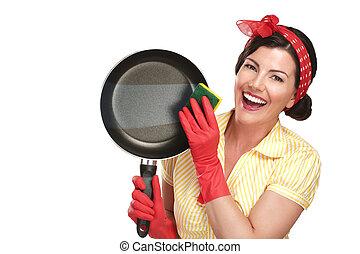 красивая, идеально, женщина, блюда, показ, промывают,...