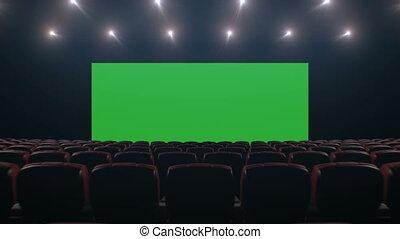 красивая, изобразительное искусство, кино, над, через, технологии, seats., concept., анимация, points., 3840x2160, 3d, экран, lights, перемещение, hd, hall., широкий, tracking, зеленый, 4k, ультра