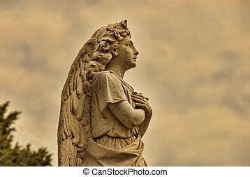 , красивая, камень, ангел