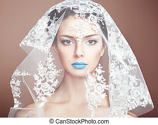 красивая, мода, фото, под, белый, вуаль, женщины