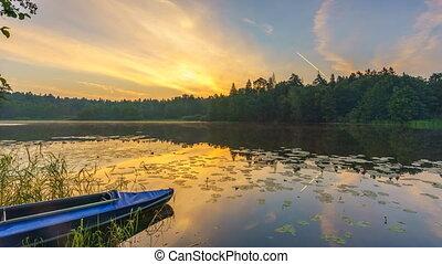 красивая, над, timelapse, озеро, закат солнца, спокойный, лес