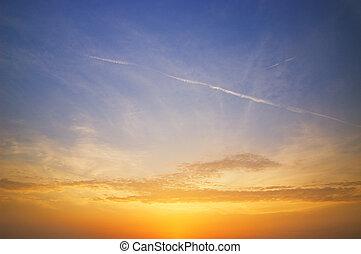 красивая, небо, в, закат солнца, время